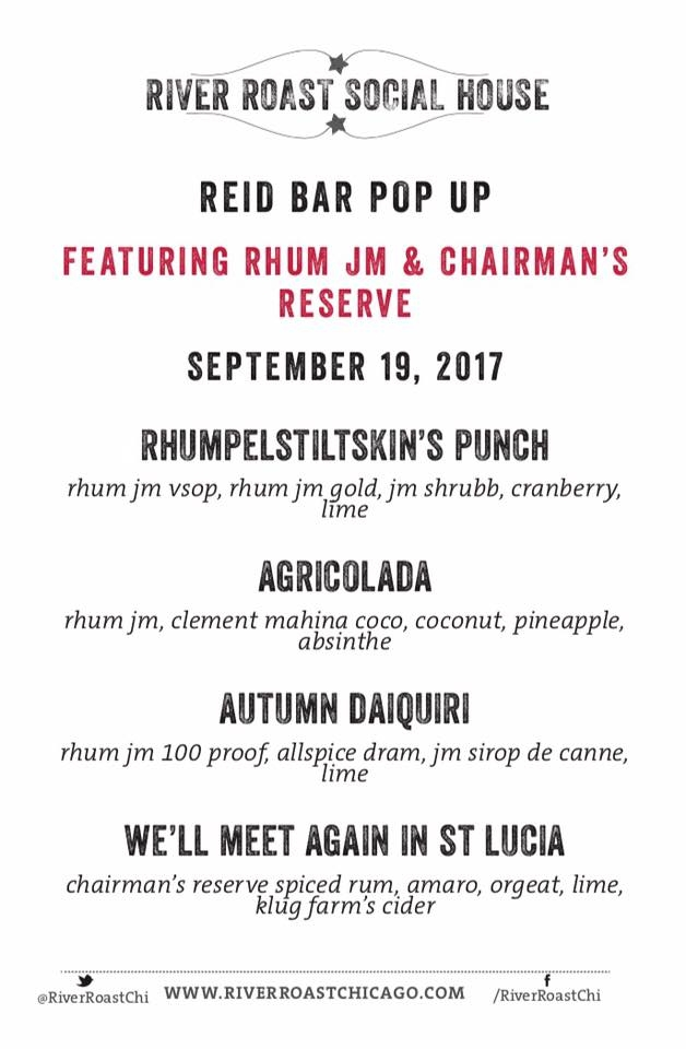 Rhum J.M and Chairman's Reserve Pop-Up at River Roast Tuesday